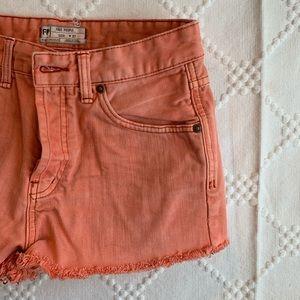 Coral denim shorts